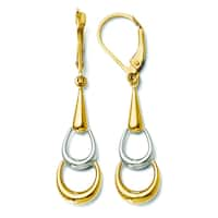 Versil 14k Two-tone Polished Dangle Leverback Earrings
