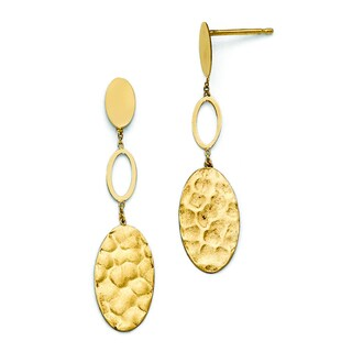 Versil 14k Polished, Brushed and Textured Post Dangle Earrings