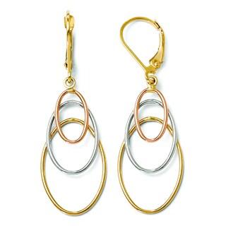 Versil 14k Tri-color Dangle Leverback Earrings
