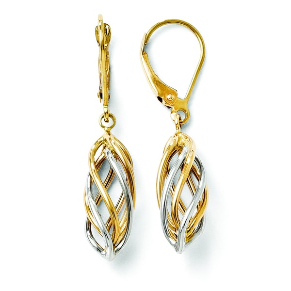 overstock earrings shop versil s 14k two tone polished leverback 9103