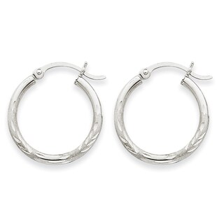 Versil 14k White Gold Satin & Diamond-cut 2mm Round Hoop Earrings