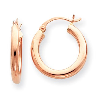 Versil 14k Rose Gold 3mm Hoop Earrings