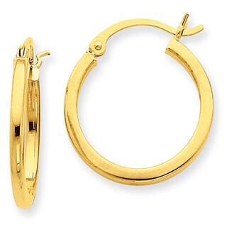 Versil 14k 2mm Square Tube Hoop Earrings