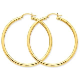 Versil 14k 3mm Light Tube Hoop Earrings