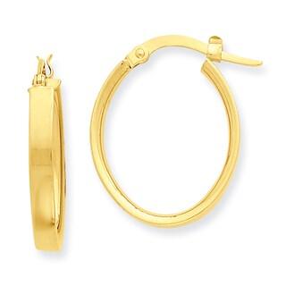 Versil 14k Yellow Gold Flat Oval Hoop Earrings