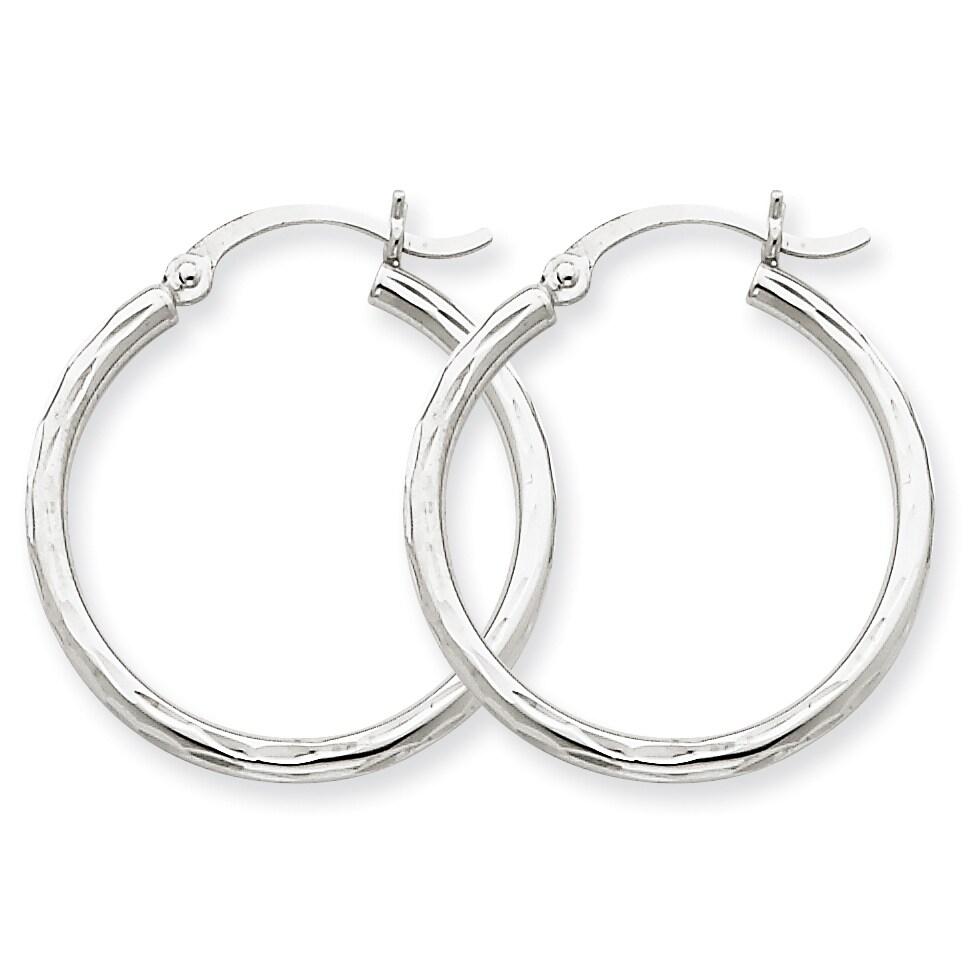 14kt White Gold Diamond-cut 2mm Round Tube Hoop Earrings