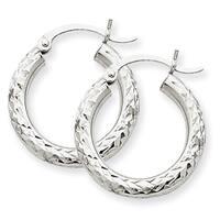 Versil 14 Karat White Gold Diamond-cut 3mm Round Hoop Earrings