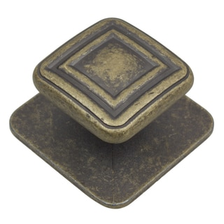 GlideRite 1.375-inch Aged Gold Square Industrial Cabinet Knobs (Pack of 10 or 25)