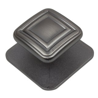 GlideRite 1.375-inch Brushed Black Nickel Square Industrial Cabinet Knobs (Pack of 10 or 25)