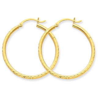 Versil 14k Diamond-cut 2mm Round Tube Hoop Earrings