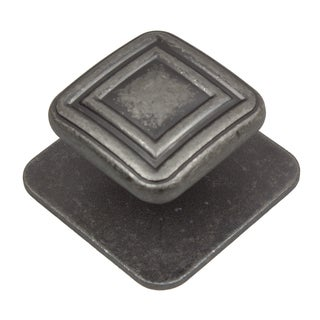 GlideRite 1.375-inch Aged Pewter Square Industrial Cabinet Knobs (Pack of 10 or 25)