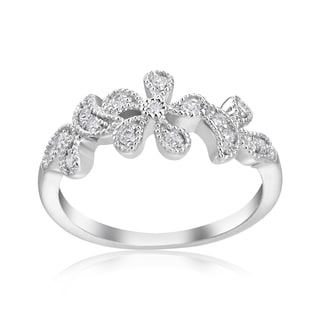 Andrew Charles 14k White Gold 1/5ct TDW Diamond Flower RIng (H-I, SI2-I1)