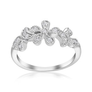 Andrew Charles 14k White Gold 1/5ct TDW Diamond Flower RIng