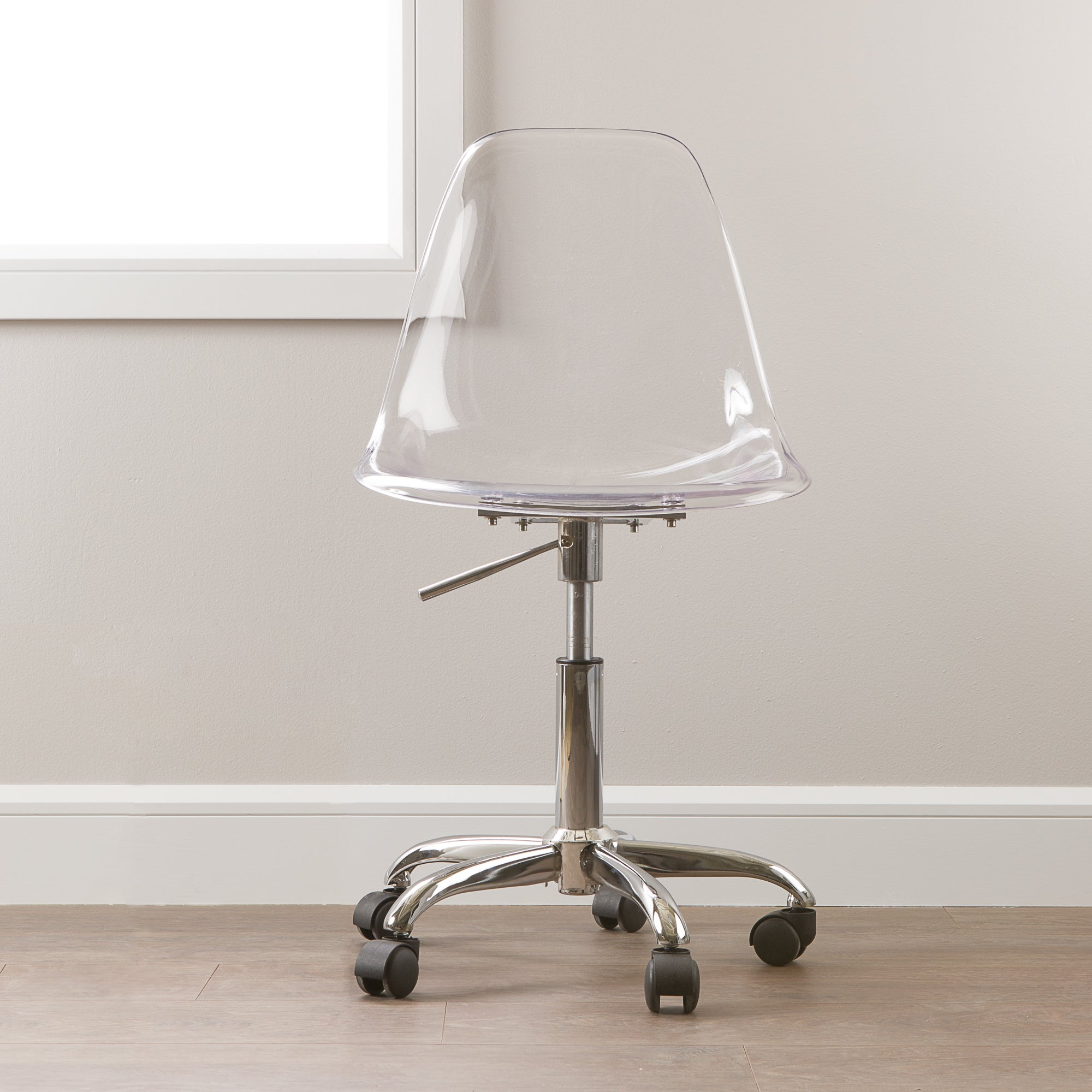 Desk chair clear acrylic adjustable height 5 wheels home office furniture new