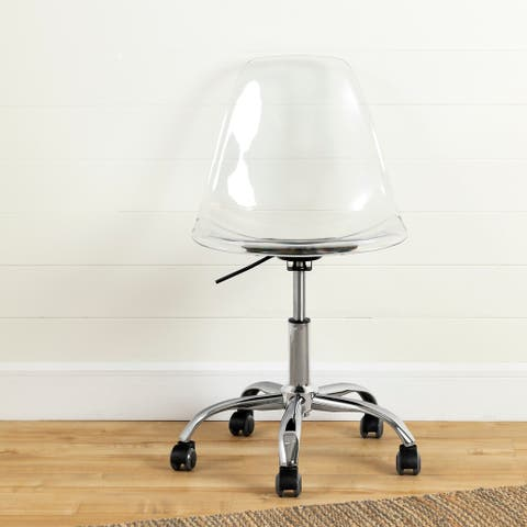South Shore Annexe Clear Acrylic Office Chair with Wheels