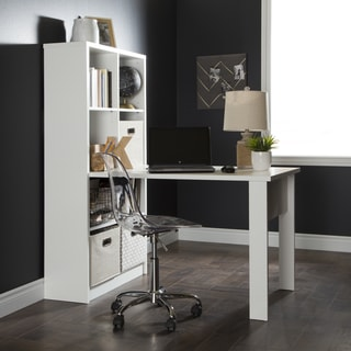 South Shore Annexe Work Desk and Storage Unit Combo with Clear Office Chair
