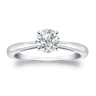 Auriya Platinum 1/2ct TDW Round-cut Diamond Solitaire Engagement Ring (I-J, SI2-SI3)