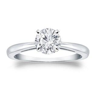 Auriya Platinum 3/4ct TDW Round-cut Diamond Solitaire Engagement Ring