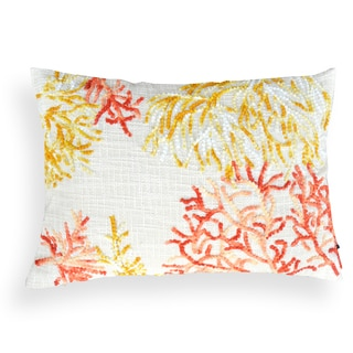 Janice Off-white Coral Embroidered 14 x 20 Pillow