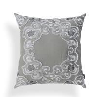 Bernadette Grey Embroidered Applique 20-inch Pillow