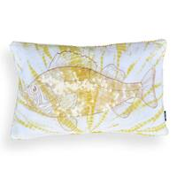 Livia White/ Yellow Sequin Fish 14 x 20 Pillow