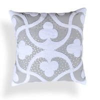 Clarissa Grey Embroidered 20-inch Pillow