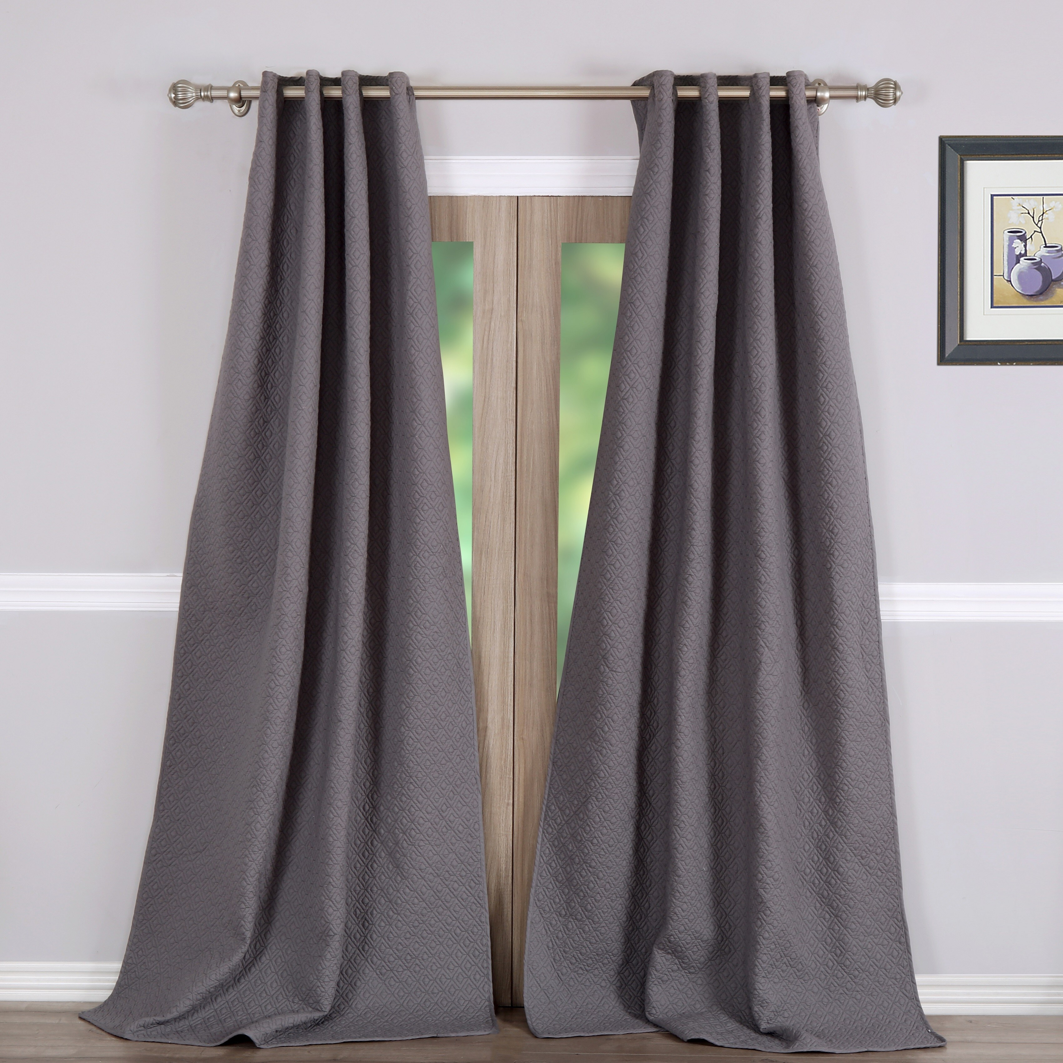 Greenland Trading Vashon Grey Quilted Curtain Panel Pair ...