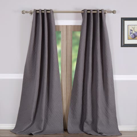 Greenland Home Fashions Vashon Grey Quilted Curtain Panel Pair