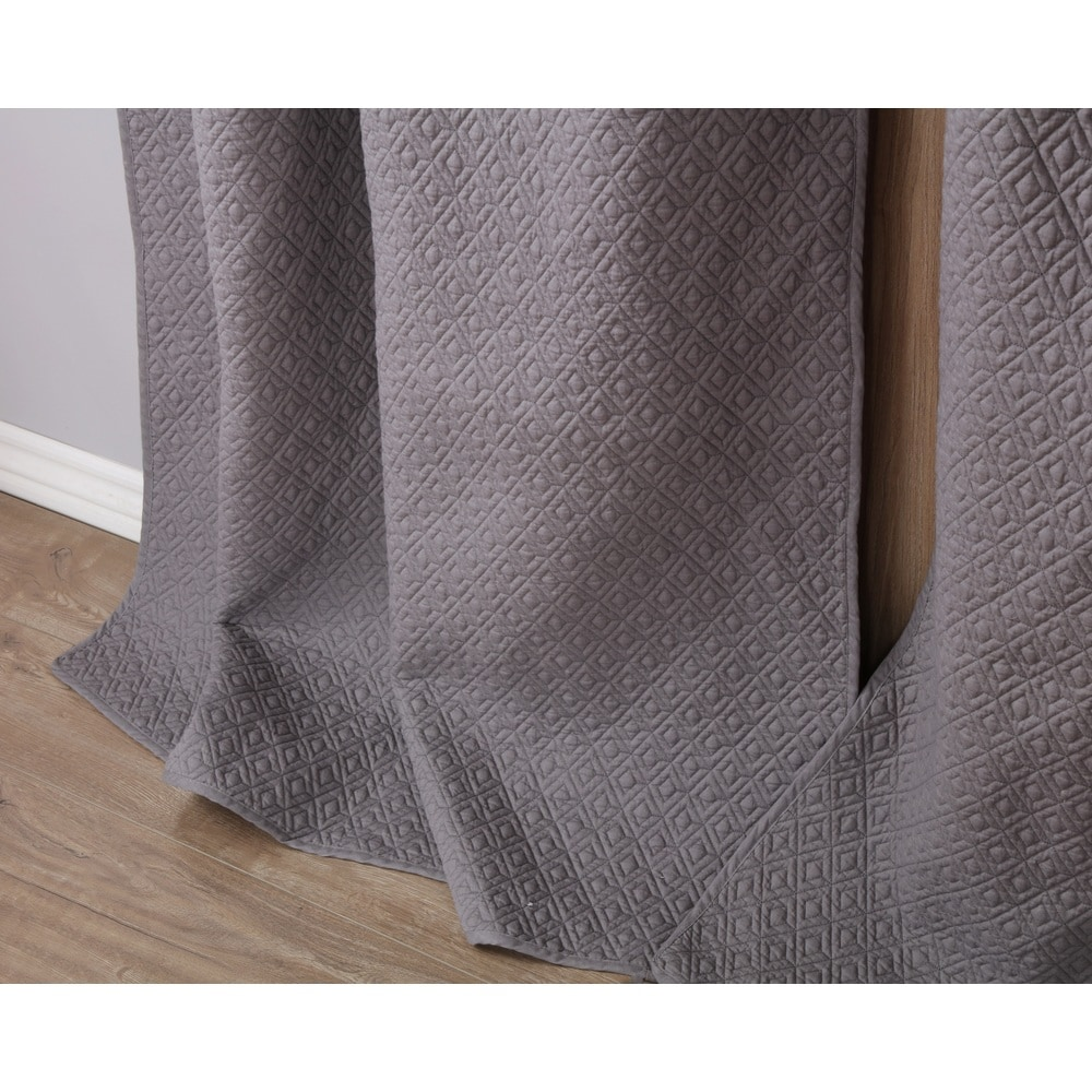 Shop Greenland Home Fashions Vashon Grey Quilted Curtain Panel Pair - 11468460
