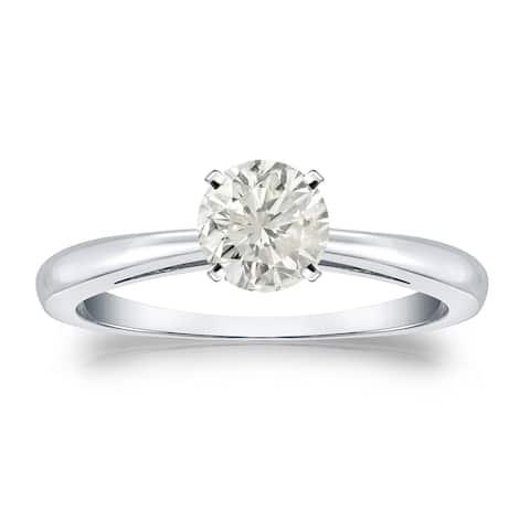 Auriya Platinum 1/2ctw Round Solitaire Diamond Engagement Ring