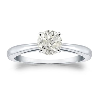 Auriya Platinum 1/2ct TDW Round-cut Diamond Solitaire Engagement Ring (J-K, I1-I2)
