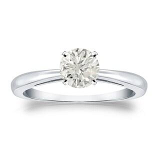 Auriya Platinum 1/2ct TDW Round Diamond Solitaire Engagement Ring