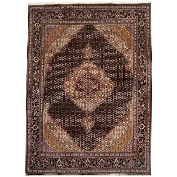 Herat Oriental Persian Hand-knotted Tabriz Wool and Silk Rug (8'1 x 11'1) - 8'1 x 11'1