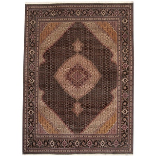 Herat Oriental Persian Hand-knotted Tabriz Black/ Pink Wool and Silk Rug (8'1 x 11'1)
