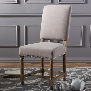 Baxton Studio Delia French French Provincial Style Country Reclaimed Oak Linen Dining Chair