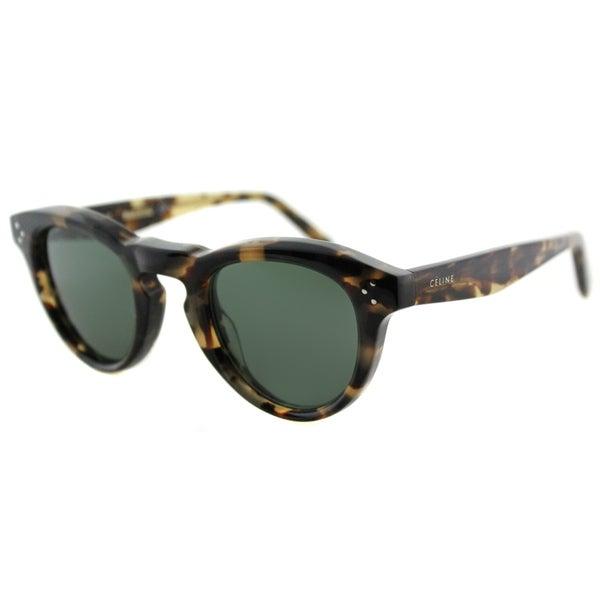 Sunglasses Green Lens  celine cl 41372 3y7 honey havana plastic round grey green lens