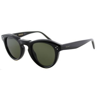 Celine CL 41372 807 Black Plastic Round Green Lens Sunglasses