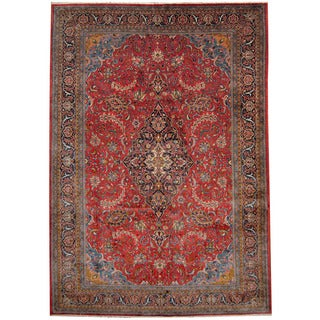 Herat Oriental Persian Hand-knotted 1960s Semi-antique Sarouk Wool Rug (8'2 x 11'7)