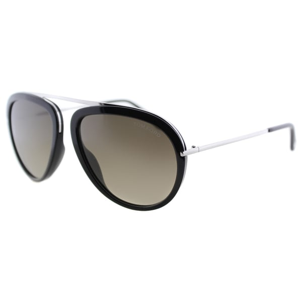 1c86d3b0683d6 Tom Ford TF 452 Stacy 01K Shiny Black And Silver Aviator Brown Gradient Lens  Sunglasses