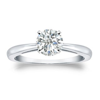 Auriya Platinum 3/4ct TDW Round-cut Diamond Solitaire Engagement Ring (I-J, SI2-SI3)