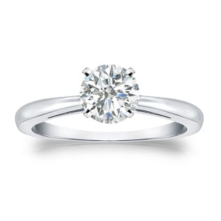Auriya Platinum 3/4ct TDW Round-cut Diamond Solitaire Engagement Ring