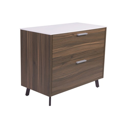 White Walnut Hart Lateral File Cabinet