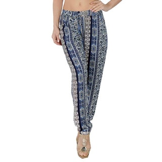 Special One Women's Dark Blue Bohemian Print Jogger Pants with Side Pockets