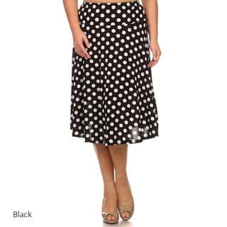 MOA Collection Women's Plus Size Polka Dot Skirt