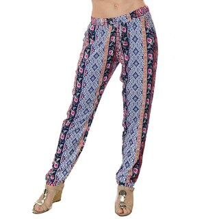 Special One Women's Blue/ Pink Bohemian Print Jogger Pants with Side Pockets