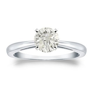 Auriya Platinum 3/4ct TDW Round-cut Diamond Solitaire Engagement Ring (J-K, I1-I2)