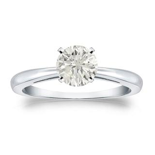 Auriya Platinum 3/4ct TDW Round-cut Diamond Solitaire Engagement Ring (J-K, I1-I2)