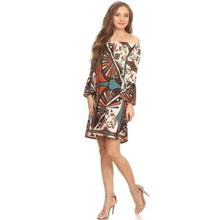 MOA Collection Women's Tribal Print 3/4 Sleeve Dress