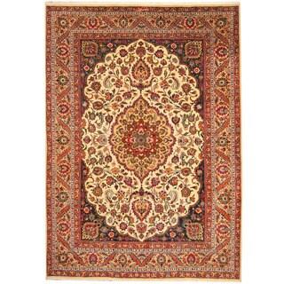 Herat Oriental Persian Hand-knotted Tabriz Ivory/ Salmon Wool Rug (8'4 x 11'6)