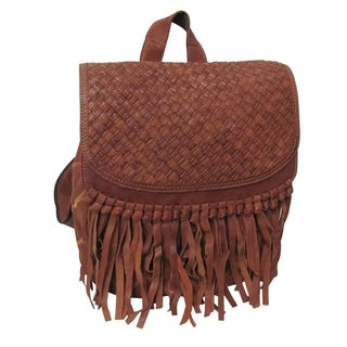Amerileather Briella Leather Fringe Fashion Backpack